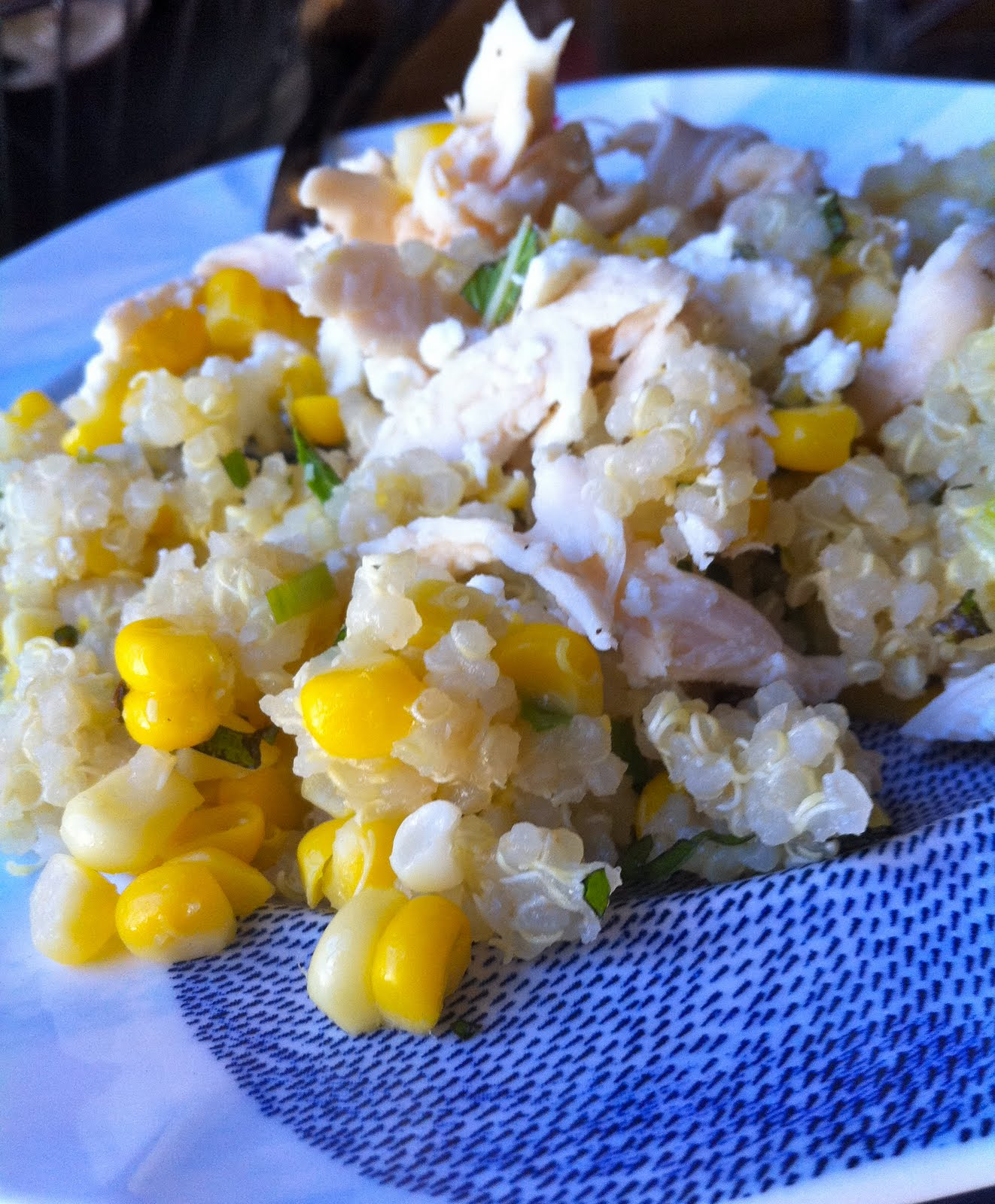 ... meatless monday - lemon scented quinoa with corn, mint, and scallions