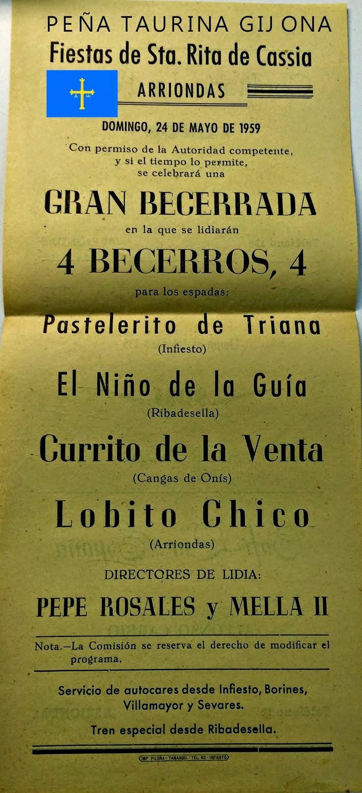CARTEL DE TOROS ARRIONDAS