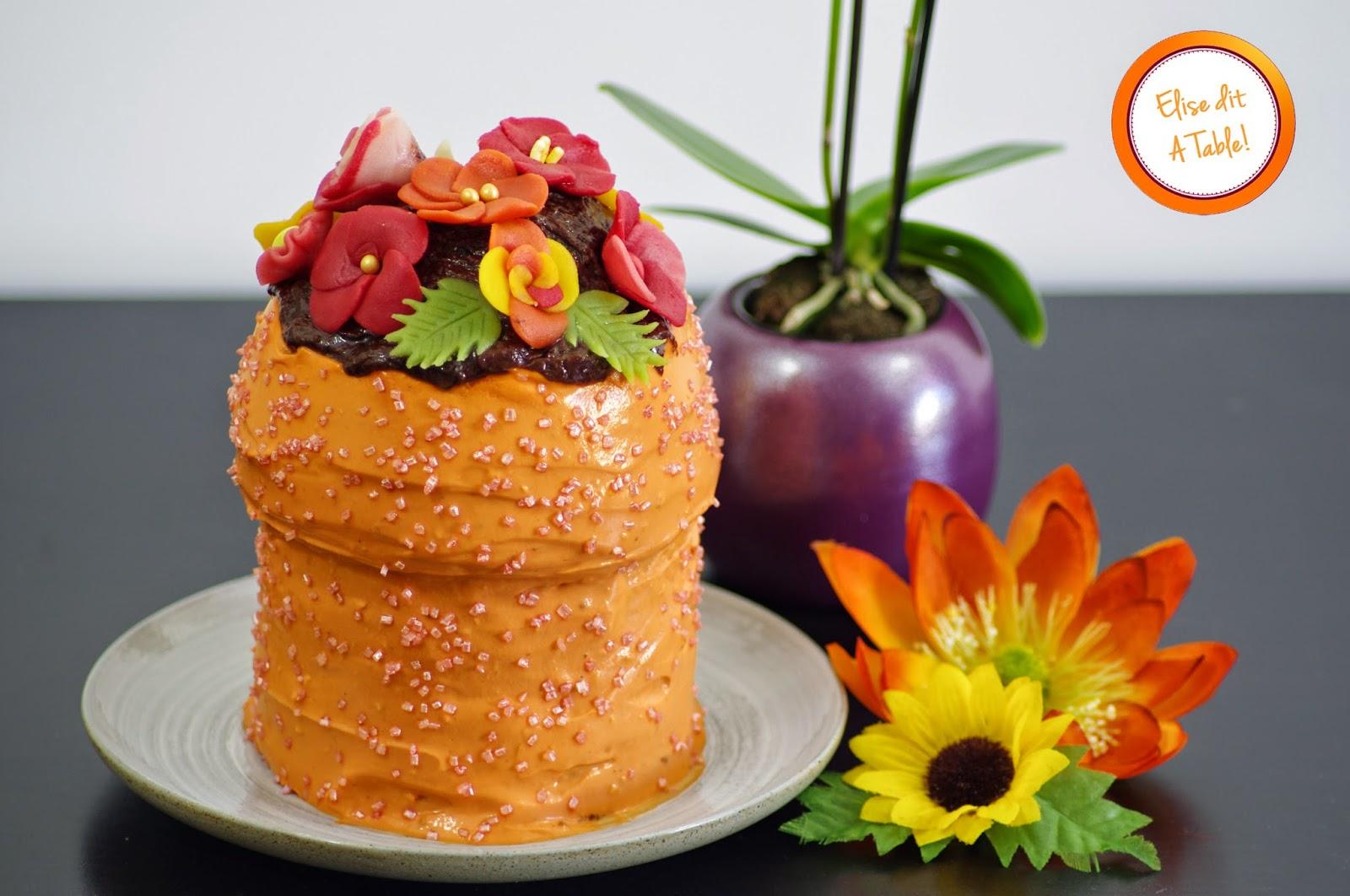 Gâteau pot de fleurs pour la fête des mères