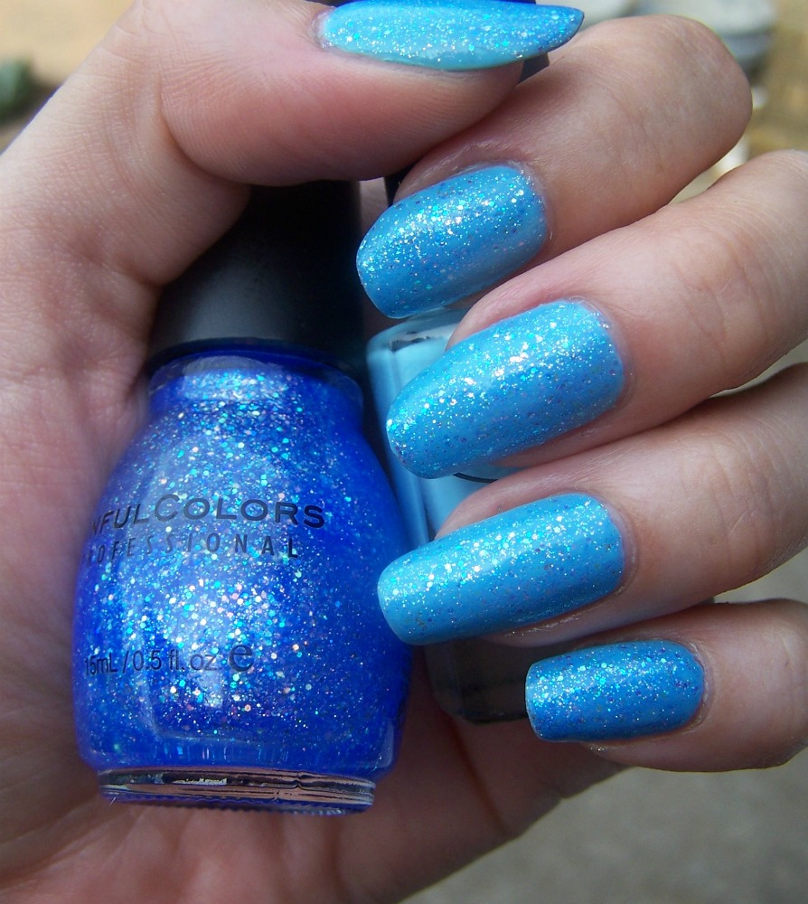 Blue Nail Polish Combinations: Concrete And Nail Polish: Sinful Colors Hottie & Color
