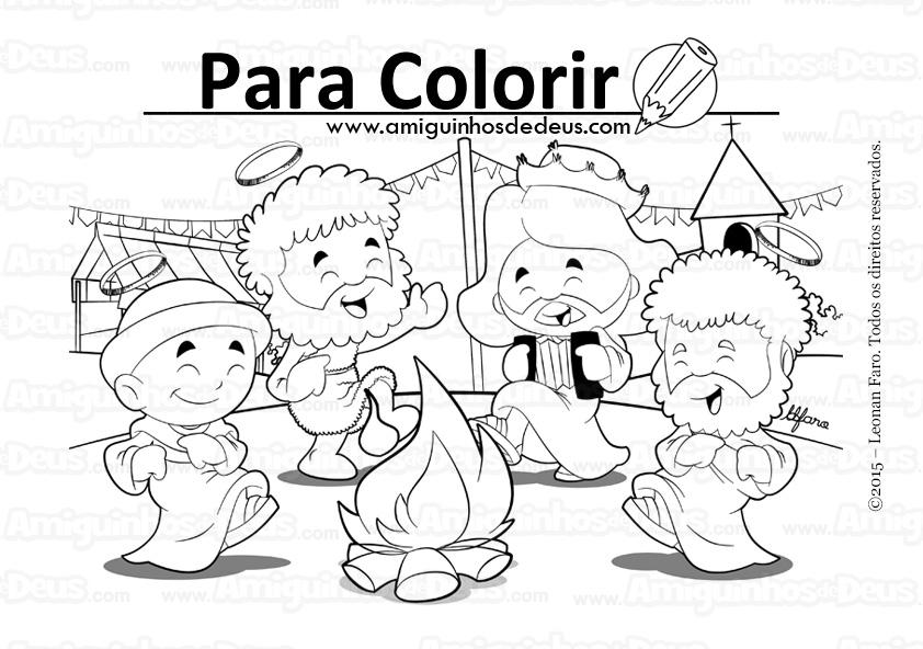 festa junina amiguinhos de deus desenho para colorir