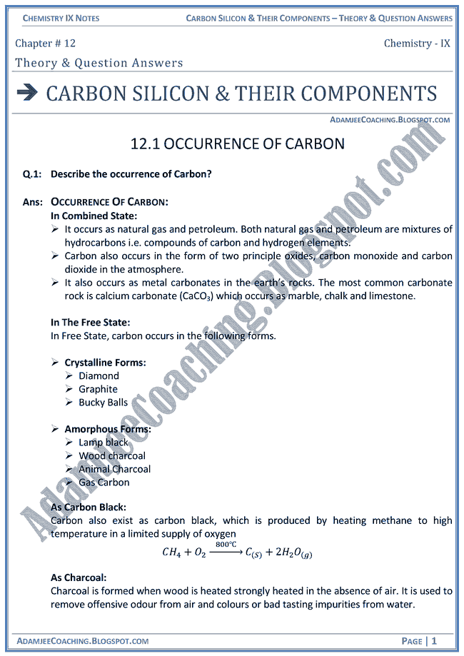 carbon-silicon-and-their-components-theory-notes-and-question-answers-chemistry-ix