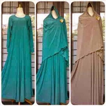 Gamis Jersey Setelan Syari Set Lily - Contoh Model Baju Gamis yang Syar'i