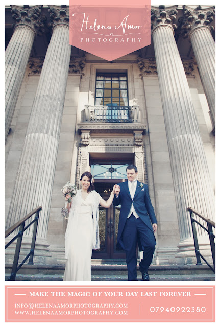 bride and groom at Marylebone Town Hall in wedding photography artwork for your london wedding magazine