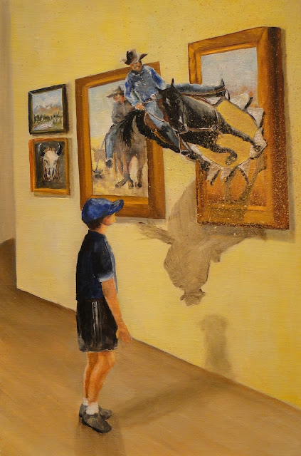fantasy painting of cowboys in an art gallery