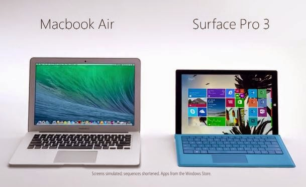 Apple | MacBook Air | Microsoft | Surface | Surface Pro 3 | Windows | Tablet | Laptop | Ultrabook | Ultraportable