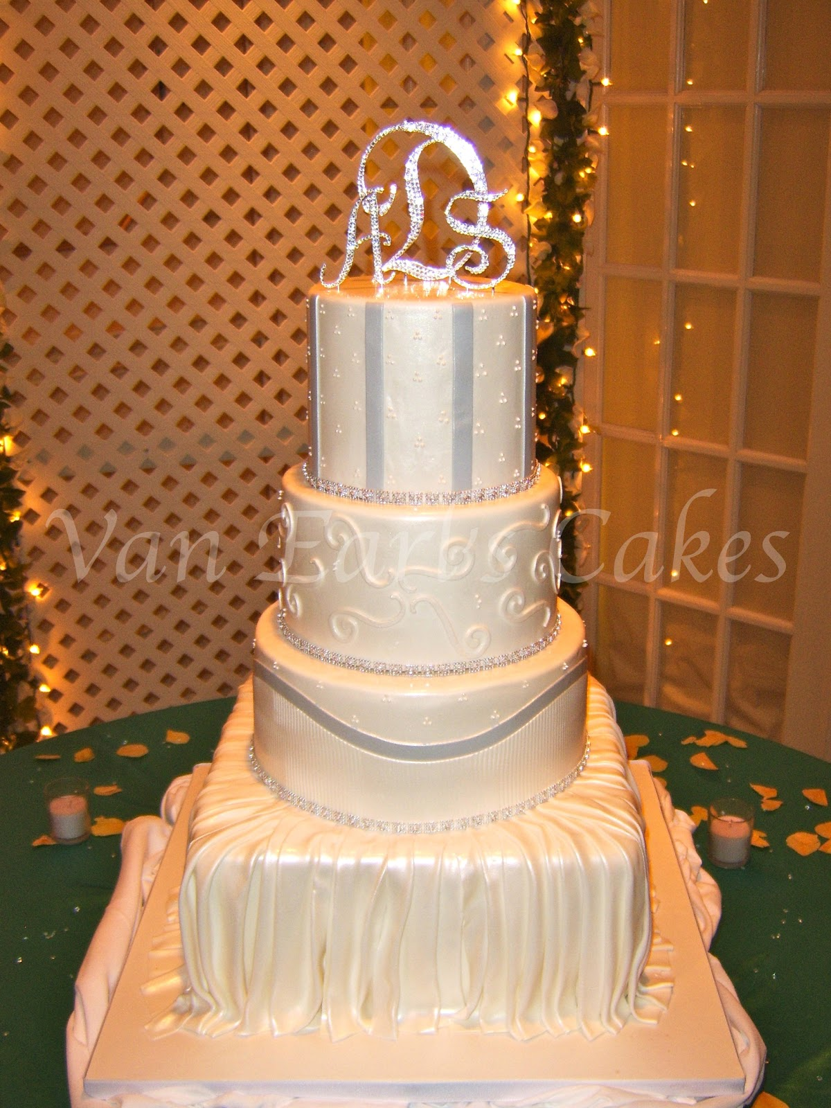 Gallery For White And Silver Bling Wedding Cakes
