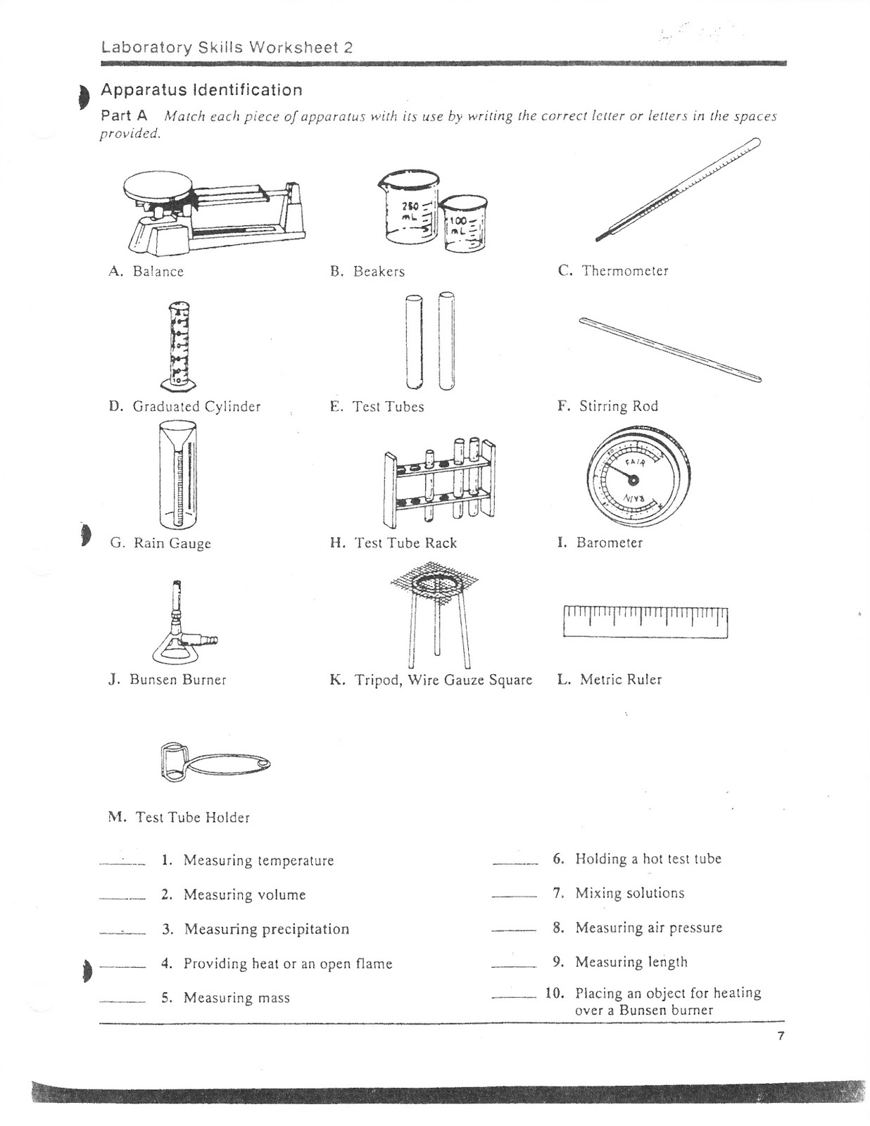 Worksheets Lab Equipment Worksheet science class lab equipment identification identification