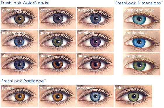 Freshlook Dimensions Sea Green >> Guide to Color Contact Lenses - Eyedolatry