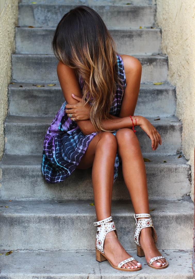 Sincerely Jules tie dye dress Isabel Marant sandals