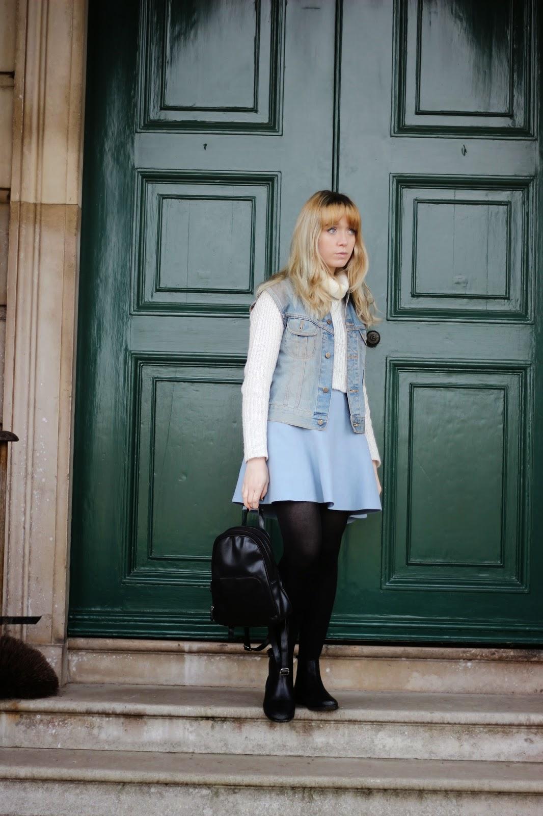 style blogger denim vest outfit