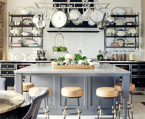 Beau Greay, White And Black Kitchen With Pot Rack