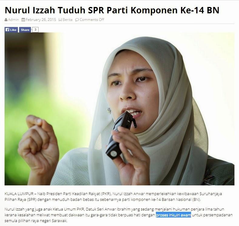 Nurul Izah Tak Paham Maksud Inkuiri Awam Bila Tak Paham Dia Fitnah Je La SPR