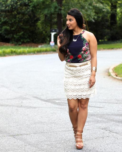 navy print dress