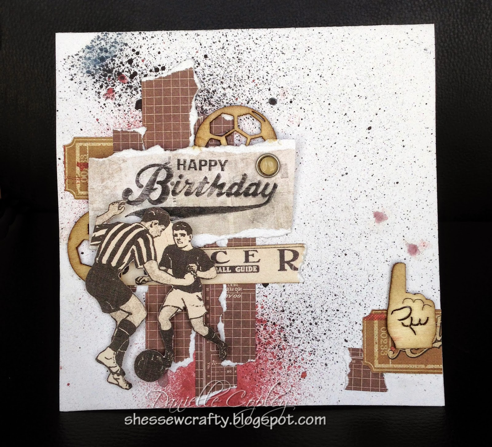 A masculine sports birthday card using Prima Allstar paper, wood icon, and brads for Scrapbook Maven