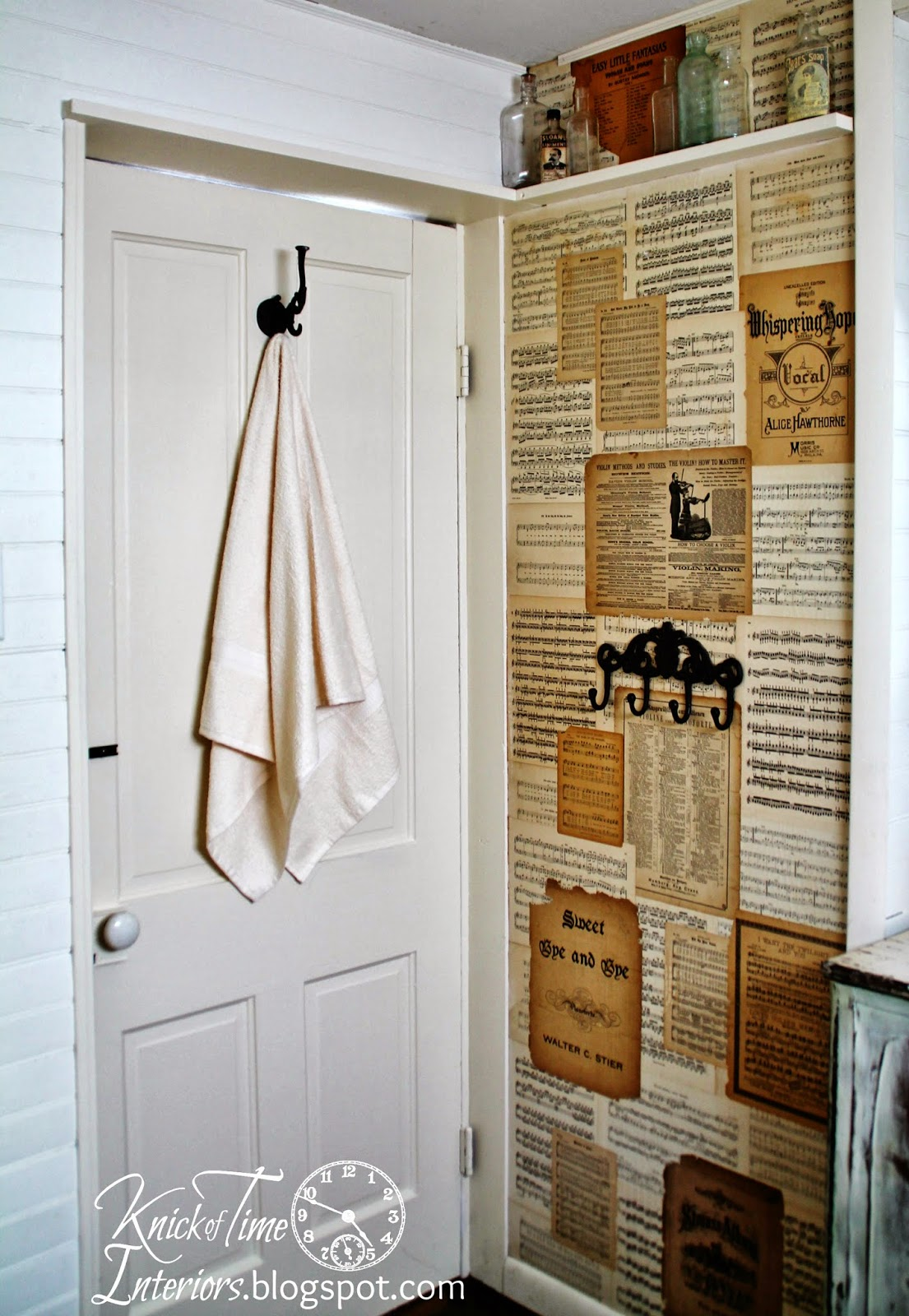 Repurposed-Sheet-Music-Farmhouse-Bathroom-Remodel-Knick of Time