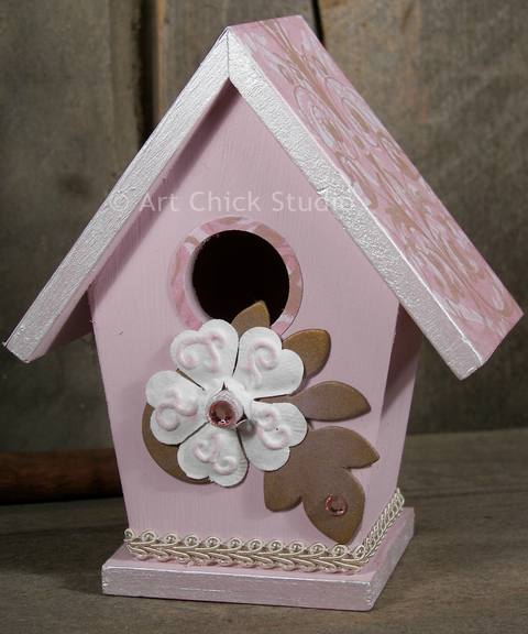 Pretty in Pink Shabby Chic Birdhouse