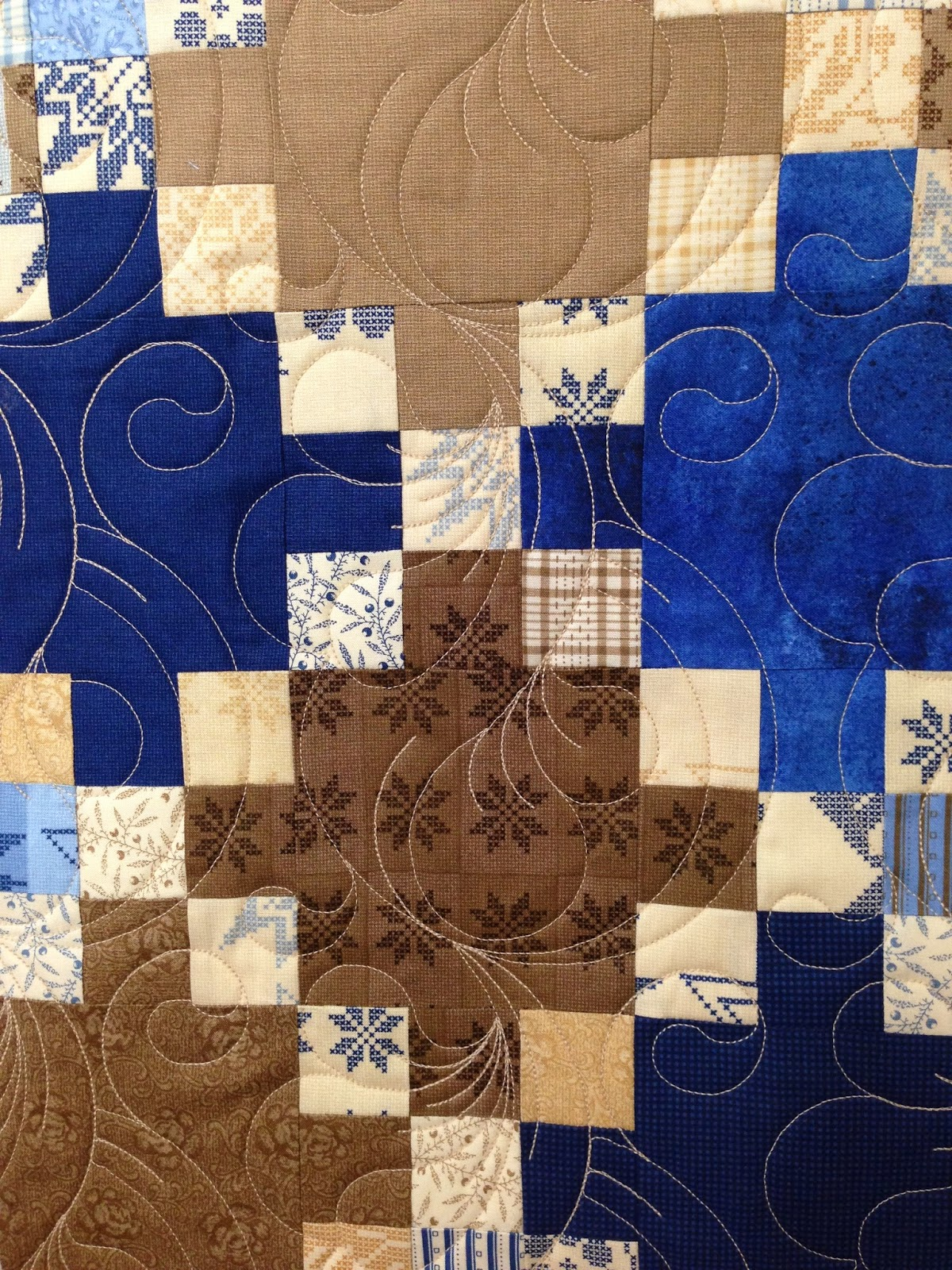Sharon Gregorczyk Blue and Brown Quilt