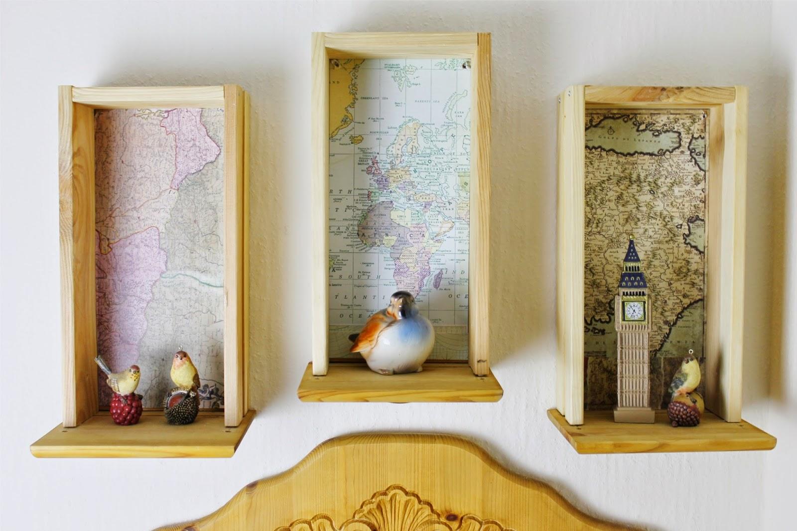 DIY Schubladenregal mit Weltkartenhintergrund