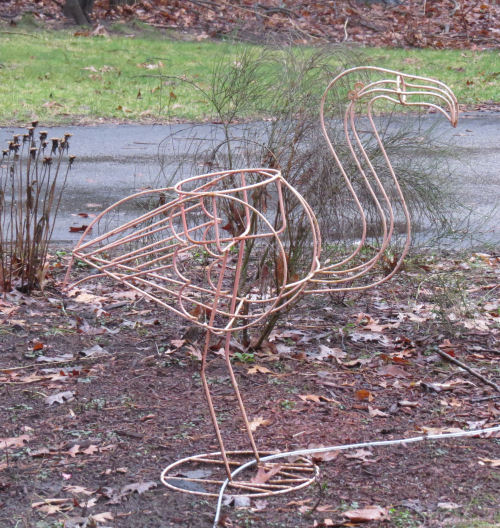 wire flamingo planter