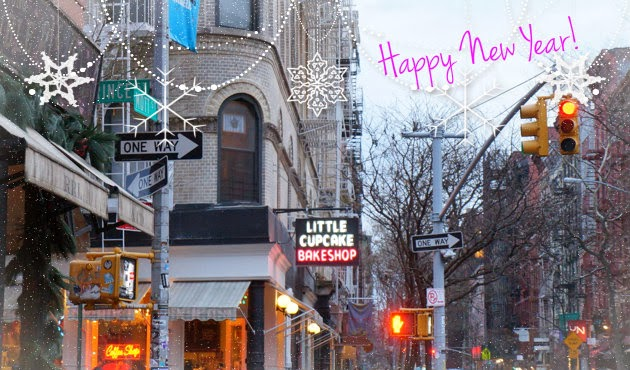 """Intersection of Prince and Mott in NYC with text """"Happy New Year"""""""