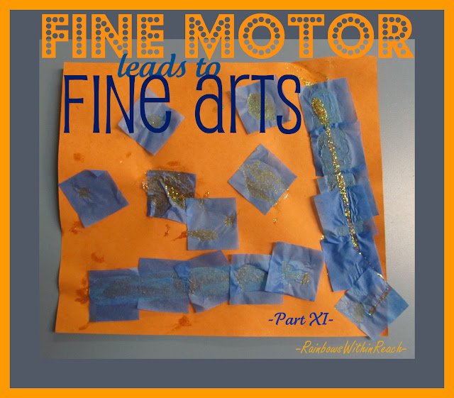 photo of: Fine Motor and Fine Arts, Squares on Bulletin Board, tissue paper art