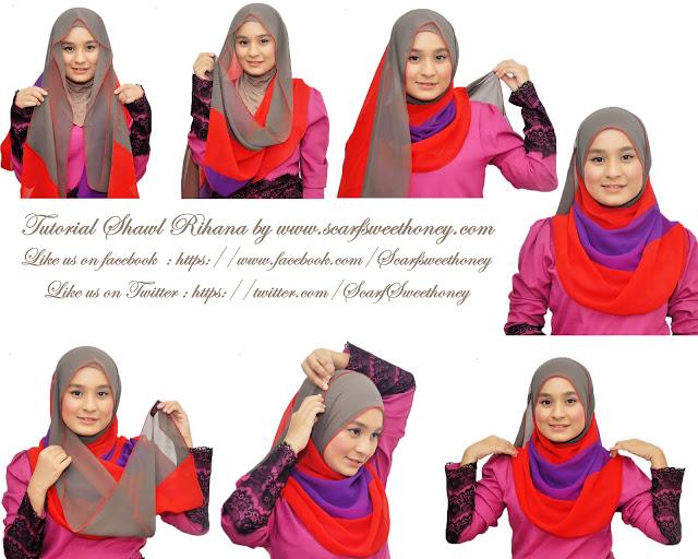 cara memakai hijab modern 3 warna 2