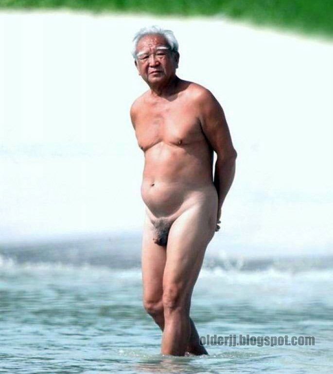 Silver Grandpa Naked On The Beach
