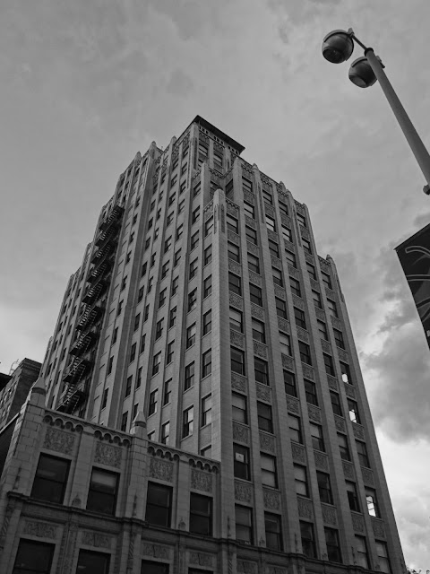 black and white skyscraper