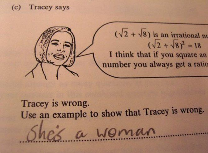 Tracy says math problem and solution because she's a woman