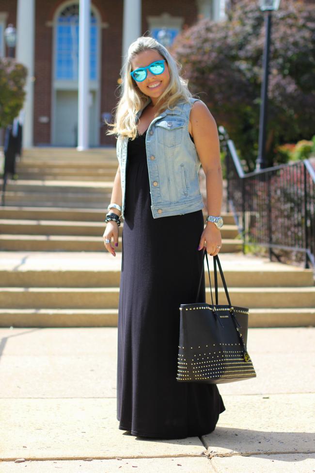 Denim Vest and Black Maxi Dress