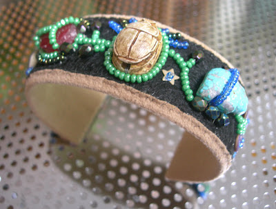bead embroidered cuff bracelet with scarab