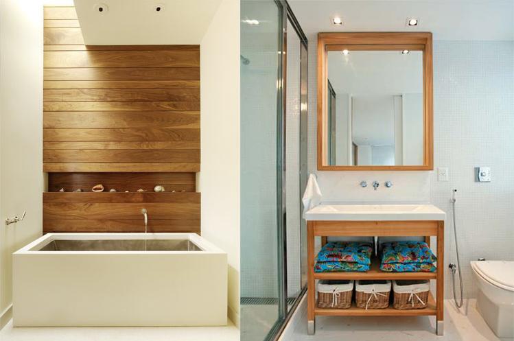 Madeira na decoração elemento de aconchego!  Decorações e Artes -> Decoracao Banheiro Madeira