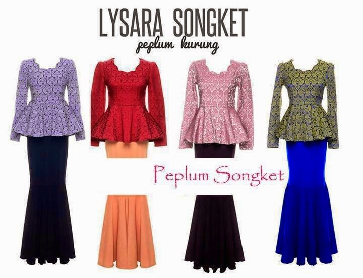 Peplum Songket 1Set Blouse Skirt