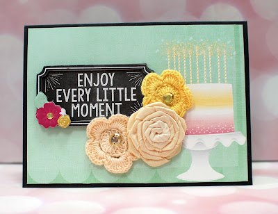 Simple birthday card using BoBunny You're Invited by Ilene Tell 1