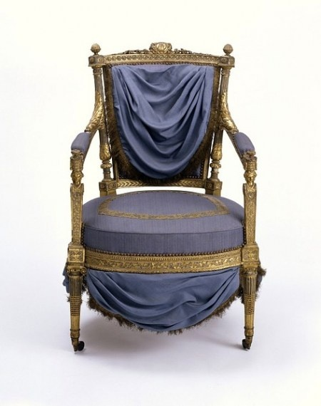 Jean-Baptiste-Claude Sené,ca. 1785-ca. 1790 (made), Carved walnut, painted white and grey and partly gilt, with modern silk upholstery and modern castors