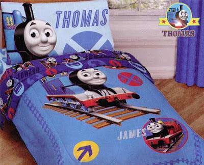 Interior design fashionable deluxe kindergarten decor Thomas the tank bedroom train bed bedding set