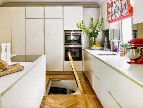 Temperature is easily monitored in the cellar, allowing the wine to age properly. - This Guy Put A Secret Window On His Kitchen Floor, For A Brilliant Reason!