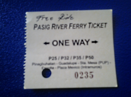 Pasig Ferry Ticket and Fare