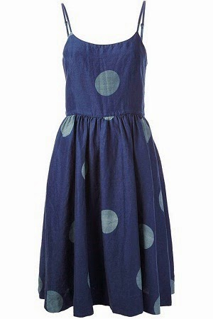 Blue Spaghetti Summer Dress with circle print