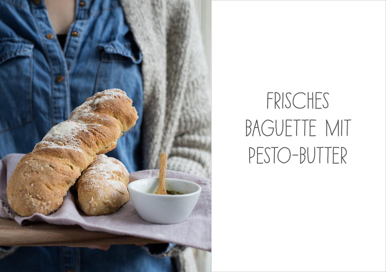 Frisches Baguette mit Pestobutter