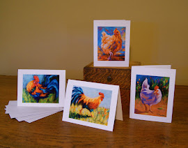 Set of 12 Rooster and Hen Note Cards