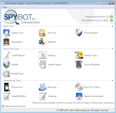 Spybot 2.0 - Basic, Advanced and Professional Tools