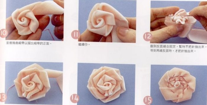 Плоские цветы из ткани