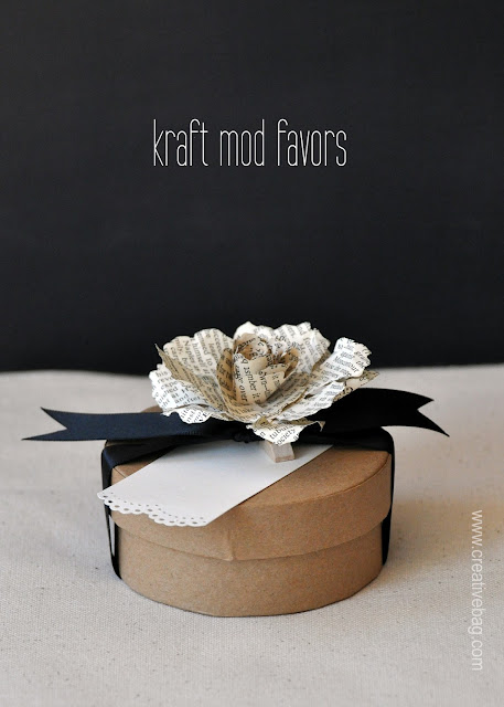 kraft round favor boxes from Creative Bag on the Creative Bag blog