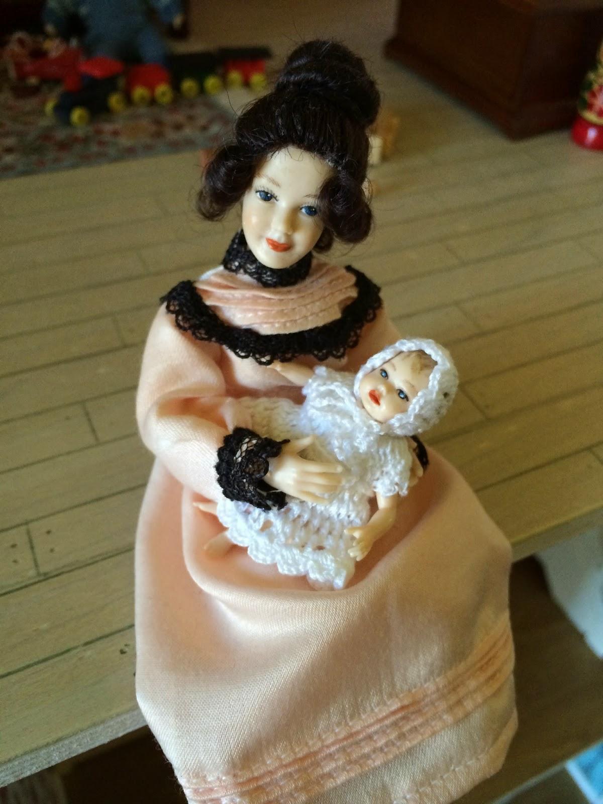 Handmade Long Gown and Bonnet for Heidi Ott Baby Doll Miniature