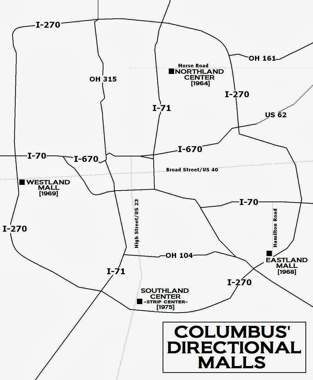 a map showing the directionally designated malls of greater columbus three regional centers northland eastland and westland were built during the 1960s