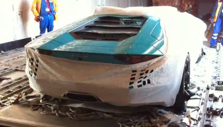 Turquoise Lamborghini Aventador Unloaded From Airplane