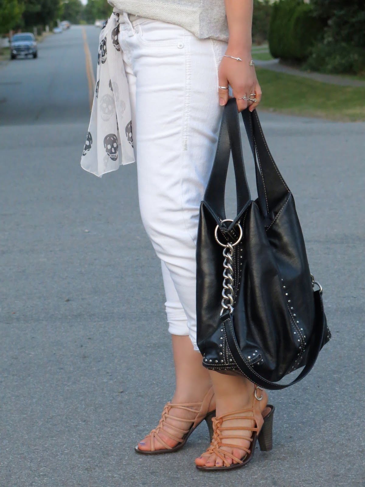 styling white jeans with a sweatshirt, strappy sandals, Michael Kors belt, and a scarf-as-belt!