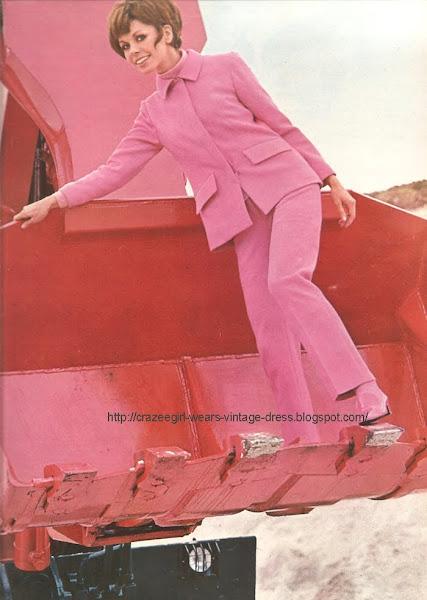 pink pants suit -1967 Rodier 60s 1960